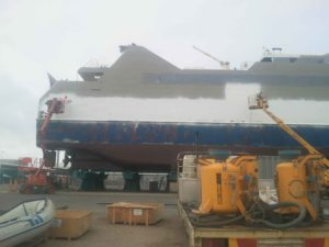 Shot Blasting to Clean Boats