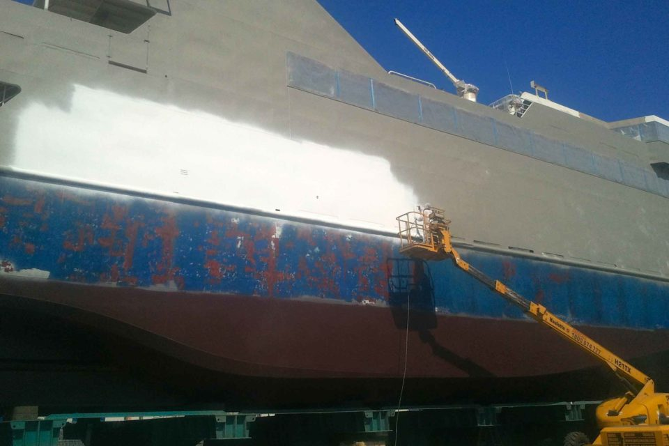 Shot Blasting to Clean Ships